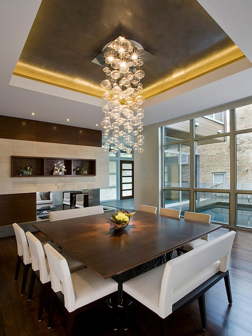 Delightful Large Square Table Part - 9: Inspiration For A Contemporary Dining Room Remodel In Chicago With A Corner  Fireplace