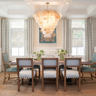 Inspiration for a medium sized beach style dining room in Orange County with beige walls and no fireplace.