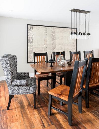 Transitional Dining Room by Soda Pop Design Inc.