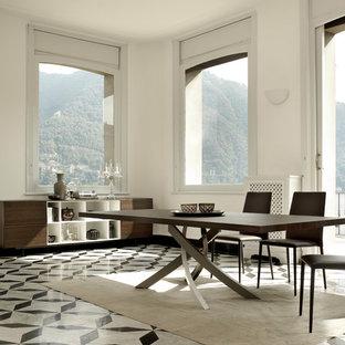 Cette Image Montre Une Salle à Manger Design Avec Un Mur Blanc Et Un Sol En