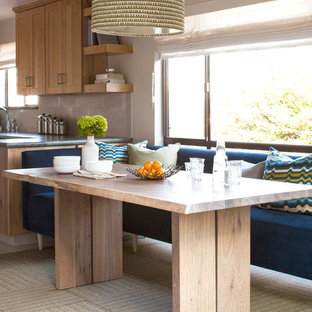 Kitchen/dining room combo - small contemporary carpeted kitchen/dining room combo idea in San Francisco with beige walls