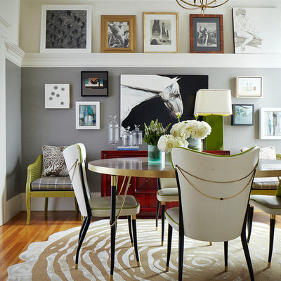 Inspiration for a mid-sized eclectic light wood floor and brown floor dining room remodel in San Francisco with gray walls and no fireplace