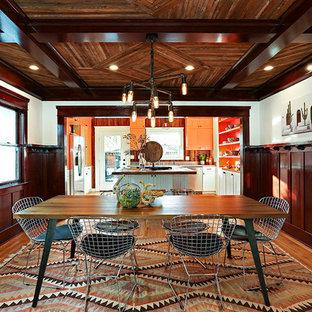 Kitchen/dining Room Combo   Craftsman Medium Tone Wood Floor And Brown  Floor Kitchen/