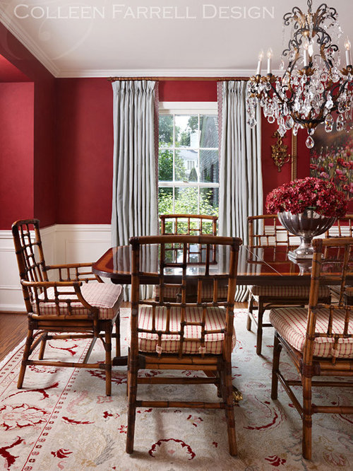 Beige dining room design ideas remodels photos with red for Dining room ideas with red walls