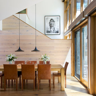 Inspiration for a mid-sized rustic medium tone wood floor dining room remodel in Denver with white walls and no fireplace