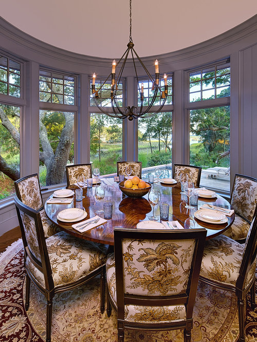 Lovely Elegant Dark Wood Floor Dining Room Photo In Charleston With Gray Walls