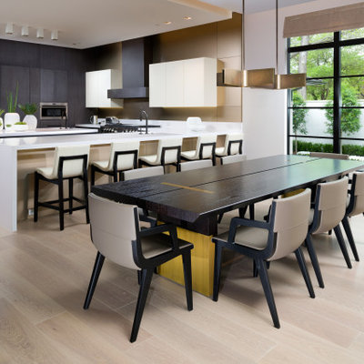 Kitchen/dining room combo - huge contemporary beige floor kitchen/dining room combo idea in Dallas with white walls