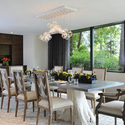Large trendy dark wood floor and brown floor enclosed dining room photo in San Francisco with beige walls
