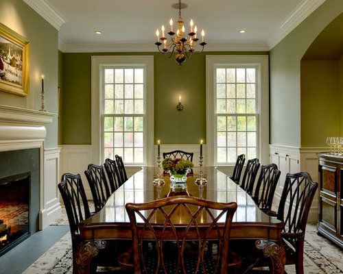 elegant dining room photo in new york with green walls carpet and a standard fireplace - Country Dining Room Pictures