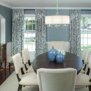 Idéer för en mellanstor klassisk separat matplats, med blå väggar, mörkt trägolv och brunt golv