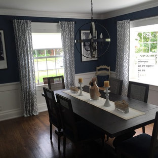 Example of a small transitional dark wood floor enclosed dining room design in New York with blue walls and no fireplace