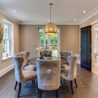 Design Ideas For A Medium Sized Contemporary Dining Room In Surrey With Beige Walls Dark