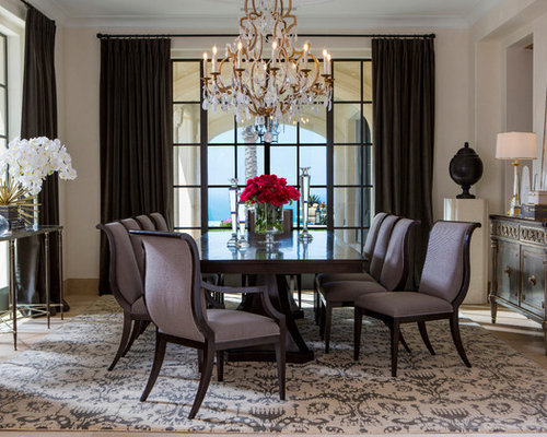 inspiration for a transitional beige floor enclosed dining room remodel with beige walls