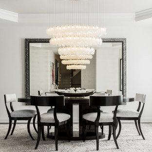Источник вдохновения для домашнего уюта: большая столовая в современном стиле с белыми стенами без камина