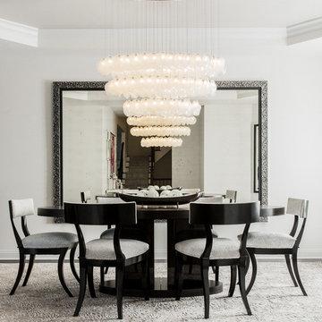 CRYSTAL SHELL | Custom Blown Glass Dining Room Chandelier | Modern Dining Light