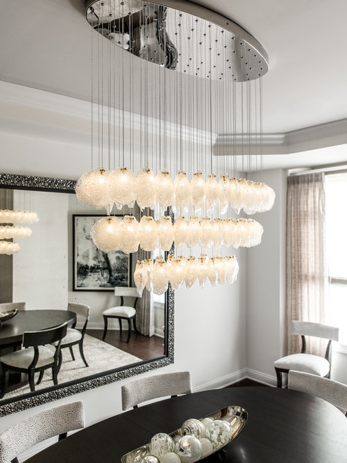 Crystal Shell | Custom Blown Glass Dining Room Chandelier | Modern
