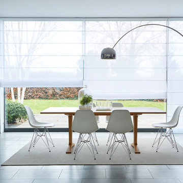 Crystal White Voile Roman blinds