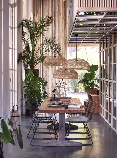 Tropical Dining Room by Cultivate Design Co