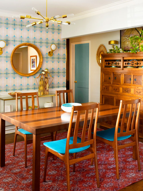 Small Eclectic Medium Tone Wood Floor And Brown Floor Enclosed Dining Room  Photo In Los Angeles