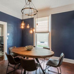 Неиссякаемый источник вдохновения для домашнего уюта: маленькая отдельная столовая в стиле фьюжн с синими стенами и полом из ламината
