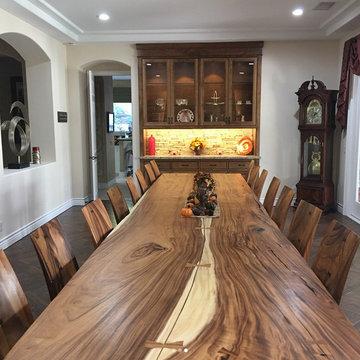 Custom 16' Acacia Slab Table