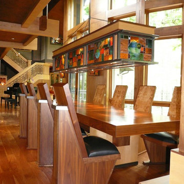 Custom Dining Table, Chairs & Light fixture