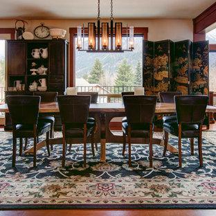 Foto de comedor de estilo americano, grande, cerrado, con paredes beige y suelo de madera oscura