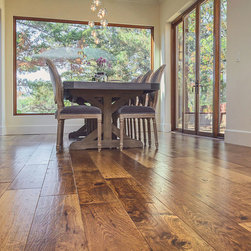 "Custom Hand-Scraped Hickory Floor in Cupertino - Dennis Mayer photographed our 7"" wide plank Hickory floor in Cupertino, California. A custom finish was applied including hand scraping and distressing. This is an incredibly durable UV applied finish."