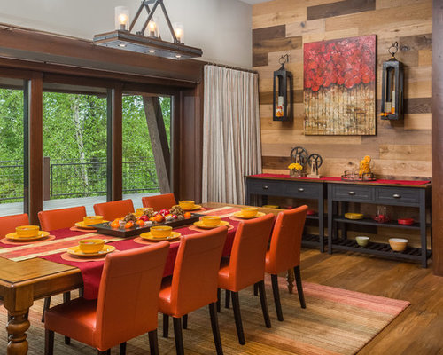 Large Rustic Dining Room Idea In Other With Medium Tone Wood Floors And Brown