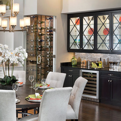 Example of a mid-sized transitional dark wood floor kitchen/dining room combo design in Orlando with gray walls and no fireplace