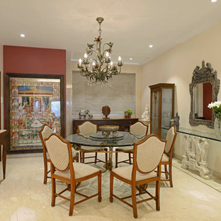 Mid Sized Zen Beige Floor Enclosed Dining Room Photo In Mumbai With Beige  Walls