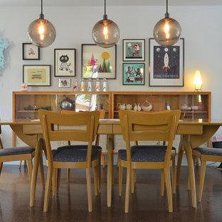 Ispirazione per una sala da pranzo minimalista con pareti bianche