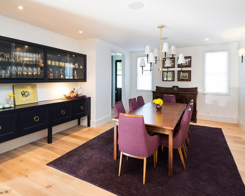 Transitional Dining Room Photo In Los Angeles With White Walls And Medium Tone Wood Floors