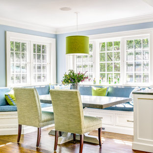 Inspiration for a timeless kitchen/dining room combo remodel in New York with blue walls