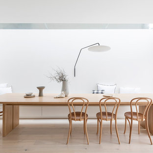 Modern dining room in Sydney with white walls, light hardwood floors and beige floor.