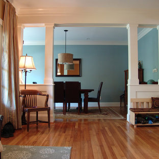 Inspiration for a craftsman medium tone wood floor dining room remodel in Atlanta with blue walls