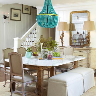 Elegant dark wood floor dining room photo in Atlanta with white walls