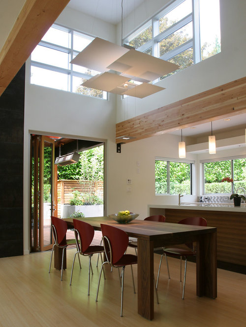 Minimalist Light Wood Floor Kitchen Dining Room Combo Photo In Vancouver With White Walls