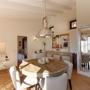 Idee per una grande sala da pranzo mediterranea chiusa con pareti beige, pavimento in terracotta e nessun camino