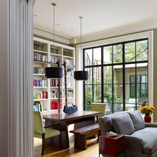 Transitional Dining Room by Rasmussen / Su Architects