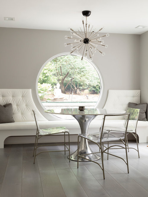 Trendy Dining Room Photo In New York With Gray Walls