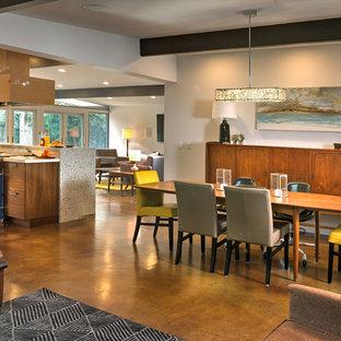 サクラメントの中くらいのモダンスタイルのおしゃれなダイニングキッチン (白い壁、コンクリートの床、標準型暖炉、レンガの暖炉まわり) の写真