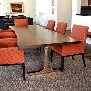 DeVos Woodworking Custom Walnut Slab Table with Handmade Mirror Polished Bronze