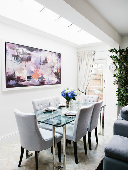 Glass Dining Room Table Inspiration For A Large Timeless Kitchen Combo Remodel In London With White Walls