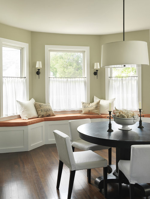 Elegant Dark Wood Floor Dining Room Photo In Providence With Beige Walls
