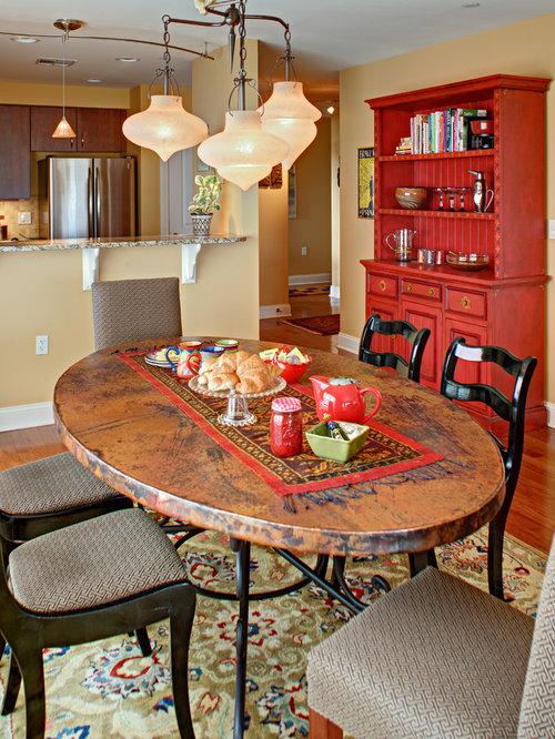 Eclectic Dark Wood Floor Kitchen Dining Room Combo Idea In Newark With Beige Walls