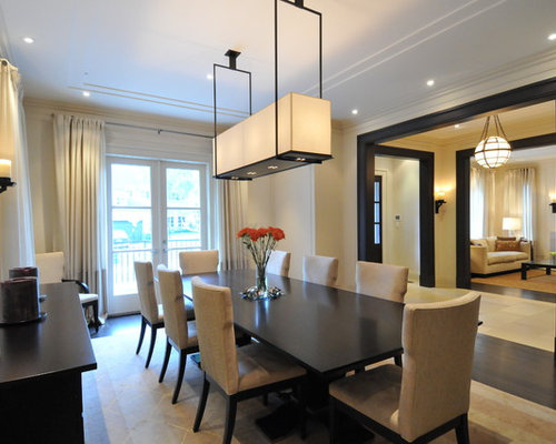 Transitional dining room photo in Toronto with beige walls. Dark Dining Table   Houzz