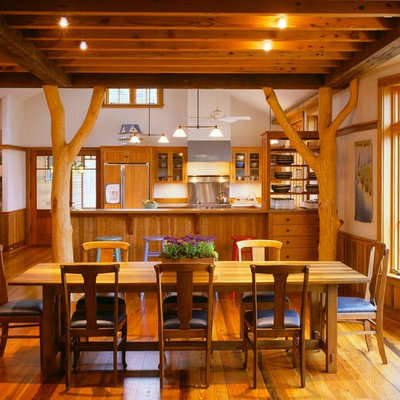 Example of a mountain style dark wood floor kitchen/dining room combo design in Boston with white walls