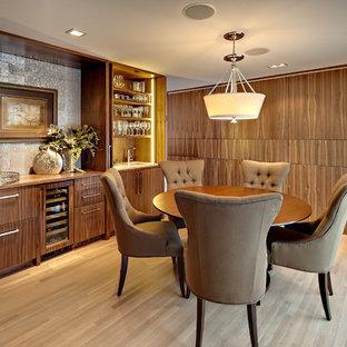 Example of a trendy light wood floor dining room design in Minneapolis