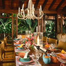Tropical Dining Room by MCM Design